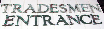 Antique Sign Letters Arts and Crafts Green Enamel on Copper TRADESMEN ENTRANCE