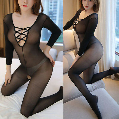 Womens Sexy Lingerie Crotchless Bodystocking Open Crotch Long sleeves Bodysuits