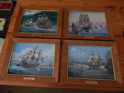 Frankin Mint Porcelain Ship Pictures set of 4 by Artist Thomas Wesley Freeman