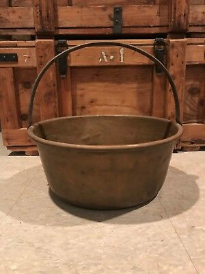 Vintage Antique Copper Jam Pan Pot Bowl w Handle