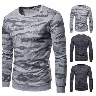 Men Camo T-Shirt Military Long Sleeve Tee Army Camouflage Tactical Sports Tees