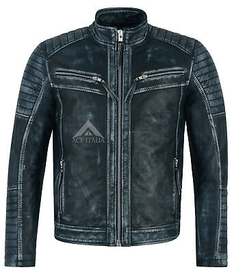 Men's Navy Vintage Leather Jacket Quilted Stitch Real Soft Italian Lambskin 2565
