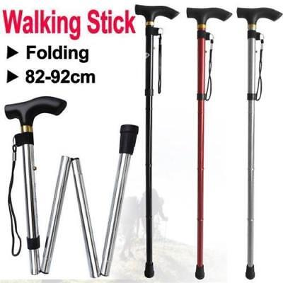 Travel Walking Cane, Durable Lightweight Fold-able & Adjustable W/ Strap LU