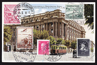 Serbia Postcard displaying CTO stamps from Germany CZ Czech Netherlands etc 1937