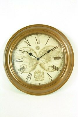 Wall Clock Cream Bronze Casing and World Map Atlas Detail Vintage style