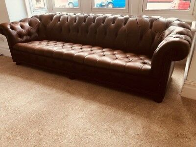 Antique Vintage Huge Leather Chesterfield Settee Sofa - 5 - 6 Seater - Fabulous