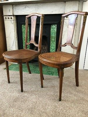 PAIR OF FRENCH LOUIS XV STYLE VINTAGE HALL CHAIRS - Walnut - Beautiful