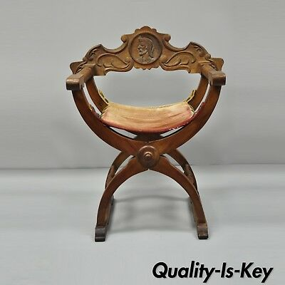 Antique Italian Renaissance Curule Savonarola Throne Chair Figural Armchair B