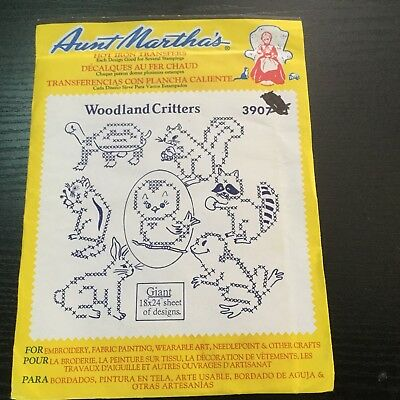 Aunt Marthas Woodland Critters Hot Iron Cross Stitch Embroidery Transfer 3907