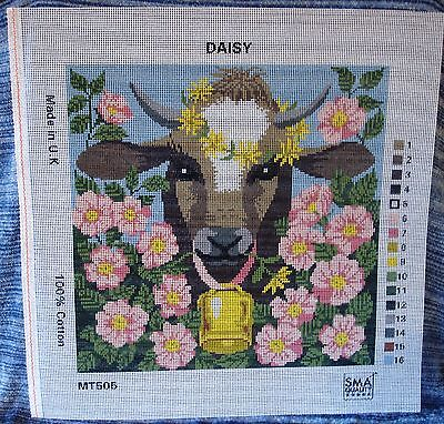 Needlework Tapestry Printed Canvas Cow Bell Daisy Dog Rose Farm Country Kitchen