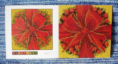 Genuine Elizabeth Bradley Needlework Bow & Berries Mini Chart Card 6 Inch Square