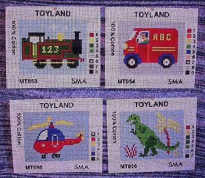 4 Children Needlework Tapestry Canvas Boys Train Van Helicopter Dinosaur Nursery