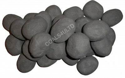 40 Grey Gas Fire Replacement Pebbles Coals Stones 60Mm Living Flame Made In Uk