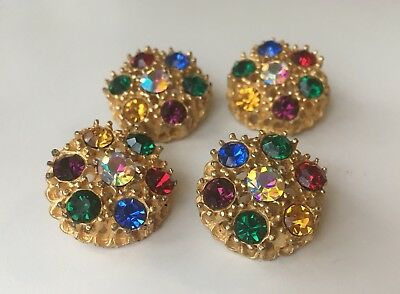 Chanel Buttons Ornate Gold with Multi-colored Rhinestones Round 25mm (Set of 4)