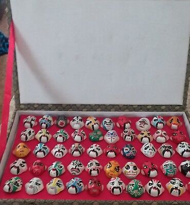 Vintage Set of 50 Chinese Opera Masks Hand-painted Ceramic in box