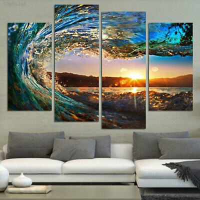 D0E0 4Pcs/lot Waves Canvas Wall Art Painted Picture Print Oil Painting For Home
