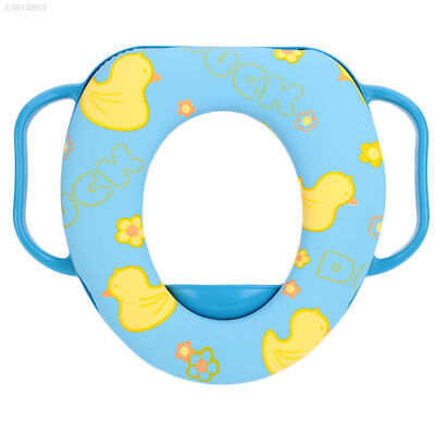 4F67 Washable Cartoon O Shaped Toilet Seat Cover With Handles Polyester Tool