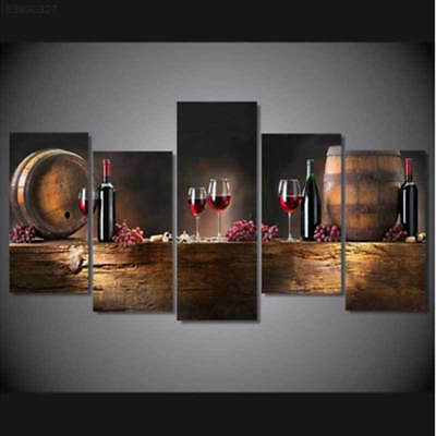 3C8E 5Pcs Vintage Canvas Wine Cup Bottle Wall Pictures Paintings Home Decor