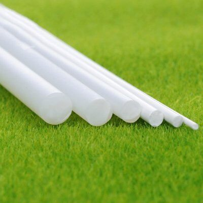 5Pcs White ABS Plastic Rod Round Solid Bar DIY Model Material 250 x1/2/3/4/5/6mm