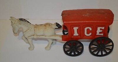 Vintage cast iron horse & ice carriage
