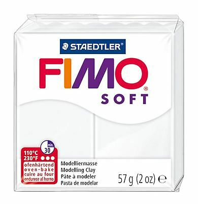 Staedtler Fimo Soft Polymer Modelling Oven Back Clay 57g White  (8020-0)