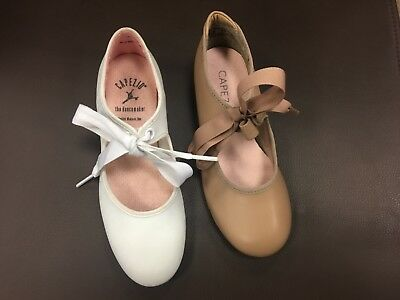 Capezio Girls tap shoes 625C Tan or White Medium Width NIB FREE FAST SHIP L@@K!!