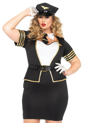 Leg Avenue Women's Plus-Size 4 Piece Mile High Pilot Costume