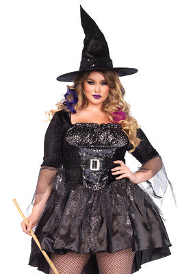 Leg Avenue Women's Plus-Size 2 Piece Black Magic Mistress Witch Costume