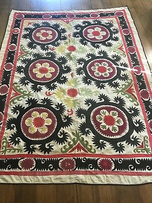 Traditional Handmade Antique Embroidered Suzani. Bedspread Wall Hanging