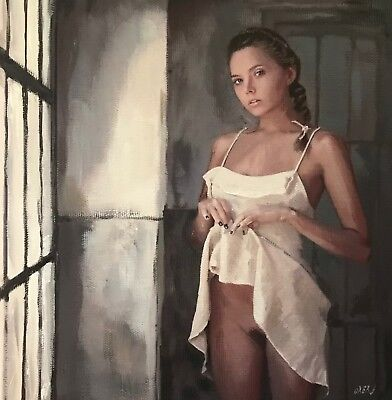 NEW WILLIAM OXER ORIGINAL Mind naked nude Pretty Brunette Woman Girl PAINTING