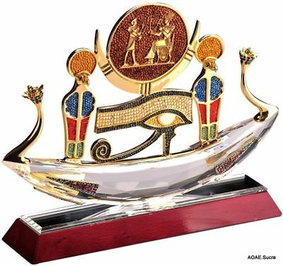 Handcrafted Pharaoh Boat egyptian king Decor Multicolor Pharaonic Crystal Asfour