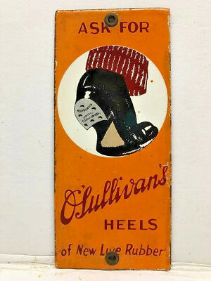 Vintage Porcelain O'Sullivans Shoe Heels Door Push Pull Enamel Metal Sign