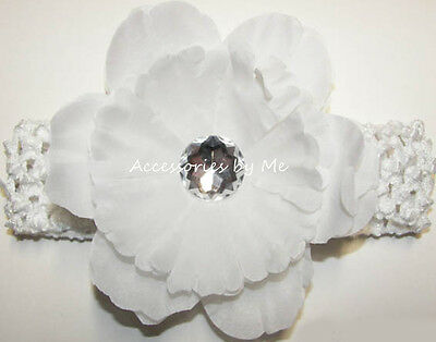 White Flower Headband Rhinestone Baby Infant Crochet Band Baptism Christening