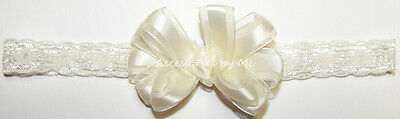 Ivory Satin Bow Lace Headband Newborn Infant Baby Baptism Christening Hair Band