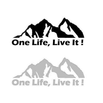 Window PET Decal ONE LIFE LIVE IT ! Off Road Mountain Silhouette Car Sticker 1pc