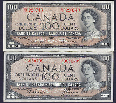 2 x 1954 Bank of Canada $100 Bank Notes - Two Different Series