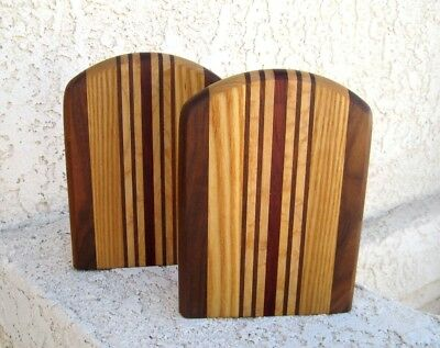 Vintage PAIR BOOKENDS Handsome multi stripe wood / inlaid wooden USA MADE 1970's