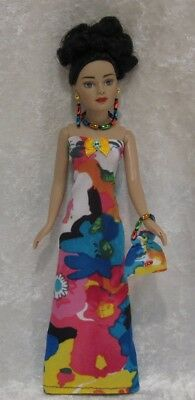 Made to fit TINY KITTY COLLIER  #76, Dress, Purse & Jewelry,  Handmade Clothes