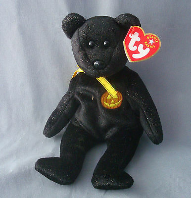 ty Beanie Baby Halloween Haunt Black Bear 2000 plush figure with tag attached