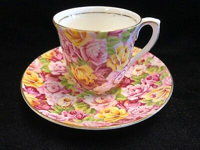 Colclough Bone China England Roses Demitasse Cup and Saucer Gold Trim