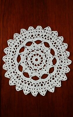 """Crochet Cotton 7"""" DOILY hand made in White for table / porthole in Narrowboat"""