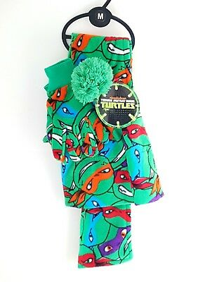 ninja turtles tmnt winter set hat scarf gloves set kids boys new official