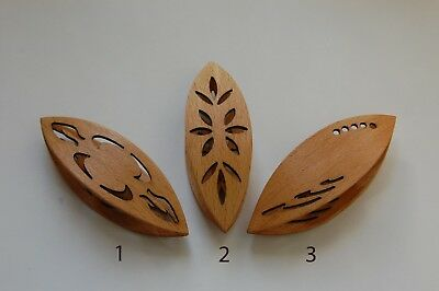 Wooden Tatting Shuttle Hand Made in Beech Decorated With Cuts Out IN ASSORTIMENT