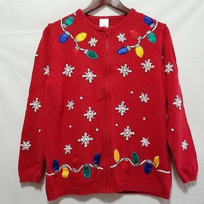 avon womens ugly christmas sweater m red zip front cardigan bulbs snowflakes - Nordstrom Christmas Sweaters