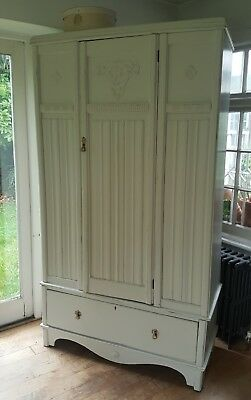 Lovely Carved Oak Painted Vintage Shabby Chic Wardrobe Fired Earth