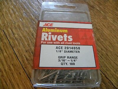 "ACE 2014058 New 1/8"" (3/16""-1/4"") Aluminum Grip Range Rivets (QTY 100)"