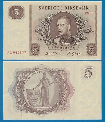 Sweden 5 Kronor P 50b 1963 UNC Low Shipping! Combine FREE! P- 50 b