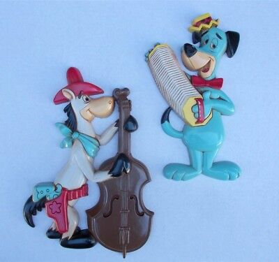Vintage Hanna Barbera Quick Draw McGraw and Huckleberry Hound Wall Plaques Homco