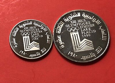 Lebanon -2 Coins 1980(1&10 Livre) -Winter Olympic -1980 .high Grade Condition.