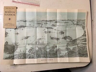 Rare Antique Birds Eye View Map Of Boston Harbor Fold Out